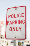Police parking only street sign Royalty Free Stock Photography