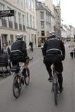 POLICE PATROL ON BIKES STROEGET PEDESTRAIN STREET Royalty Free Stock Image