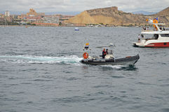 Sailing yachting Police Patrol Boat At Sea Royalty Free Stock Photo