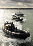 Police patrol boats Stock Images