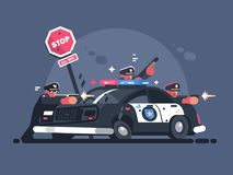 Police patrol fires from behind car. Attack of criminals. Vector illustration Stock Photo