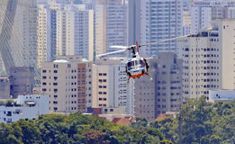 Police patrol in helicopter Stock Photo
