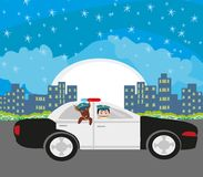 Police patrol at night. Vector Illustration Royalty Free Stock Photos