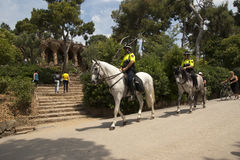 Police patrol in Parc Guell Stock Photos