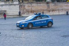 Police patrol that runs in Piazza del Popolo in Rome Royalty Free Stock Photo