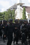 Police Patrol And Security Around the Church Ahead of Christmas Day in the city of Solo, Central Java Stock Photos