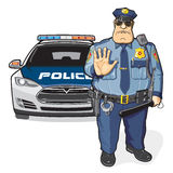 Police patrol, sheriff. A police officer and a police car Stock Photo