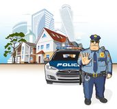 Police patrol, sheriff. Police officer and a police car, street - cottages and skyscrapers Stock Images