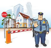 Police patrol, sheriff, stop sign, barrier. Police officer, street - cottages and skyscrapers. Stop sign and barrier Royalty Free Stock Image
