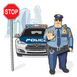 Police patrol, stop sign. Police officer and a police car, stop sign Stock Photography