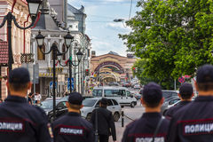 Police patrolling the streets in the Kazan Stock Photography