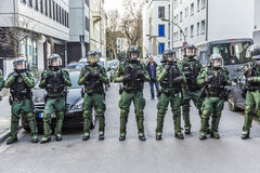 Police pays attention at demonstration against EZB and Capitalis Royalty Free Stock Images