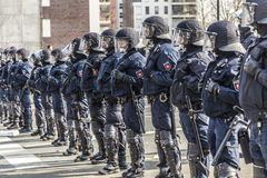 Police pays attention for people demonstrating against EZB and C Royalty Free Stock Images