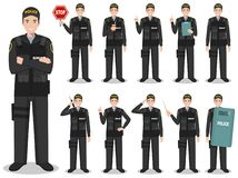 Police people concept. Detailed illustration of american policeman, sheriff, SWAT officer standing in different poses in flat stock photos