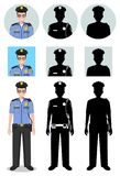 Police people concept. Detailed illustration and silhouettes and silhouettes of officer, policeman and sheriff in flat. Style on white background. Differences Royalty Free Stock Photos