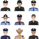 Police people concept. Different policeman characters avatars icons set in flat style isolated on white background. Vector illustr Royalty Free Stock Photo