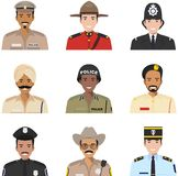 Police people concept. Different policeman characters avatars icons set in flat style  on white background Royalty Free Stock Photo