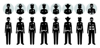 Police people concept. Set of different black silhouettes and avatars icons of SWAT officer, policeman, policewoman and. Police concept Set of different stock illustration