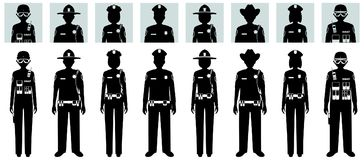 Police people concept. Set of different black silhouettes and avatars icons of SWAT officer, policeman, policewoman and sheriff in. Police concept Set of Royalty Free Stock Photo