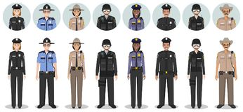 Police people concept. Set of different detailed illustration and avatars icons of SWAT officer, policeman, policewoman and sherif. Detailed illustration and stock illustration