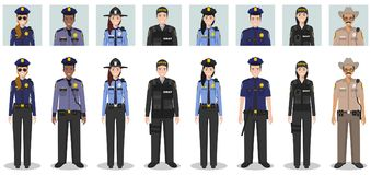 Police people concept. Set of different detailed illustration and avatars icons of SWAT officer, policeman, policewoman and sherif. Detailed illustration and royalty free stock photos