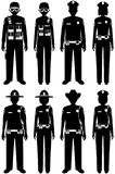Police people concept. Set of different silhouettes of SWAT officer, policeman, policewoman and sheriff in flat style on Stock Images