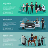 Police People Flat Banners Stock Image