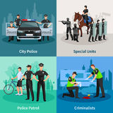 Police People Flat 2x2 Design Concept Stock Image