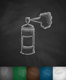Police pepper spray icon. Hand drawn vector illustration. Chalkboard Design Stock Photo