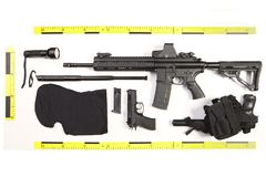 Police photo evidence of seized automatic gun and other weapons and contraband royalty free stock images