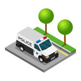 Police pickup van isometric 3d car truck Royalty Free Stock Photos