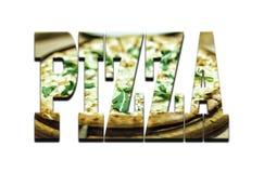 Police-pizza Polices de concepteur sur un fond blanc Texte de la pizza par la pizza pour la pizza illustration libre de droits