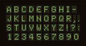 Police pointillée par vecteur pour la table numérique de LED Le vert monospace des lettres des cercles de feu vert réglés panneau illustration libre de droits