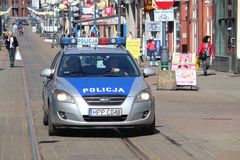 Police in Poland. CHORZOW, POLAND - APRIL 7, 2018: Police car Kia Ce'ed in Chorzow, Poland. Police in Poland has some 100,000 officers Stock Photos