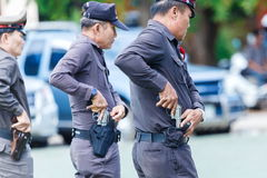 Police,Police gun,Police training weapons. Stock Photo