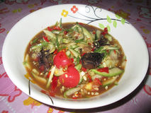 Som-Tam with cucumber. The pound fish (TAM) is the cucumber cucumber salad instead of papaya Stock Images