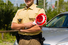Police - policeman or cop stop car Royalty Free Stock Photography