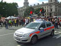 London Police. Police at political demonstration at Westminster London Royalty Free Stock Photography