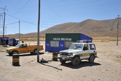 A police post on the road in the Altiplano. Stock Photo