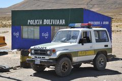 A police post on the road in the Altiplano. Royalty Free Stock Photo