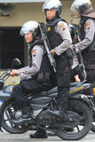 Police. Practice shooting from a motorcycle to anticipate crime in the countryside in Karanganyar, Central Java, Indonesia stock images