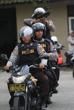 Police. Practice shooting from a motorcycle to anticipate crime in the countryside in Karanganyar, Central Java, Indonesia stock photo
