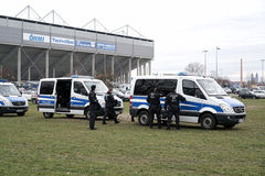 Police presence. During the football game 1.FC Magdeburg against FC Hansa Rostock in Magdeburg Royalty Free Stock Image