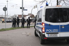 Police presence in Magdeburg. Increased police presence in Magdeburg with roadblock fearing riots of violent fans during the football game against FC 1.FC Stock Photography