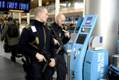 POLICE PRESENTS AT COPENHAGEN INT AIRPOT Royalty Free Stock Photo