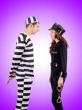 Police and prison inmate on the white Stock Photo