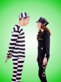 Police and prison inmate on white Royalty Free Stock Photography