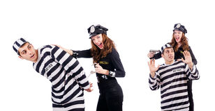 The police and prison inmate on white Stock Images