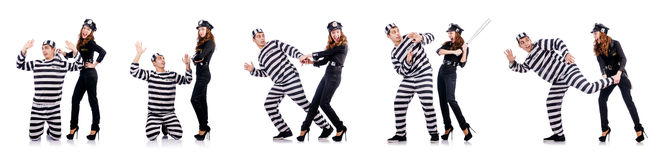 The police and prison inmate on white Stock Photography