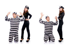 The police and prison inmate on white Royalty Free Stock Image